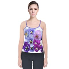 Pansy Isolated Violet Nature Velvet Spaghetti Strap Top