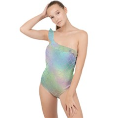 Pastel Mermaid Sparkles Frilly One Shoulder Swimsuit