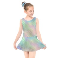 Pastel Mermaid Sparkles Kids  Skater Dress Swimsuit by retrotoomoderndesigns