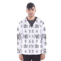 Black And White Ethnic Design Print Men s Hooded Windbreaker by dflcprintsclothing