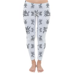 Black And White Ethnic Design Print Classic Winter Leggings by dflcprintsclothing