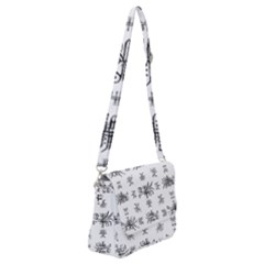 Black And White Ethnic Design Print Shoulder Bag With Back Zipper by dflcprintsclothing