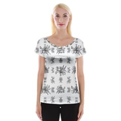 Black And White Ethnic Design Print Cap Sleeve Top