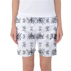 Black And White Ethnic Design Print Women s Basketball Shorts by dflcprintsclothing
