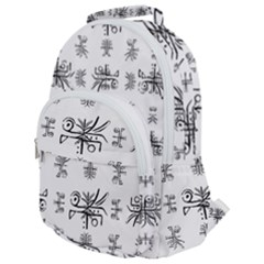 Black And White Ethnic Design Print Rounded Multi Pocket Backpack