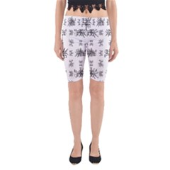 Black And White Ethnic Design Print Yoga Cropped Leggings by dflcprintsclothing