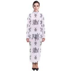 Black And White Ethnic Design Print Turtleneck Maxi Dress by dflcprintsclothing