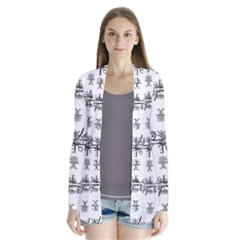 Black And White Ethnic Design Print Drape Collar Cardigan by dflcprintsclothing