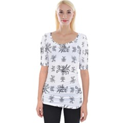 Black And White Ethnic Design Print Wide Neckline Tee by dflcprintsclothing