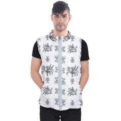 Black And White Ethnic Design Print Men s Puffer Vest by dflcprintsclothing