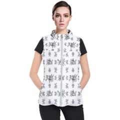 Black And White Ethnic Design Print Women s Puffer Vest by dflcprintsclothing