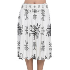Black And White Ethnic Design Print Velvet Flared Midi Skirt by dflcprintsclothing