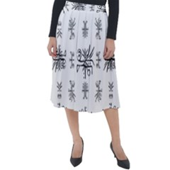 Black And White Ethnic Design Print Classic Velour Midi Skirt  by dflcprintsclothing
