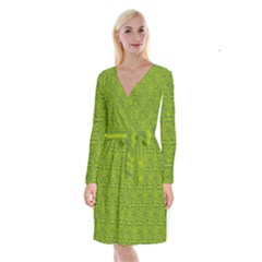 Oak Tree Nature Ongoing Pattern Long Sleeve Velvet Front Wrap Dress