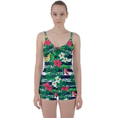 Fancy Tropical Pattern Tie Front Two Piece Tankini by tarastyle