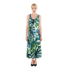 Fancy Tropical Pattern Sleeveless Maxi Dress by tarastyle