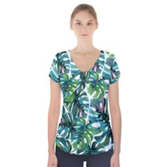 Fancy Tropical Pattern Short Sleeve Front Detail Top by tarastyle