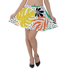 Fancy Tropical Pattern Velvet Skater Skirt by tarastyle