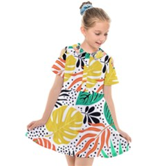 Fancy Tropical Pattern Kids  Short Sleeve Shirt Dress by tarastyle