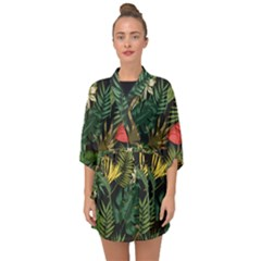 Fancy Tropical Pattern Half Sleeve Chiffon Kimono by tarastyle