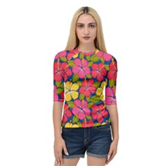 Fancy Tropical Pattern Quarter Sleeve Raglan Tee by tarastyle