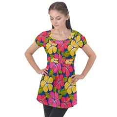 Fancy Tropical Pattern Puff Sleeve Tunic Top by tarastyle