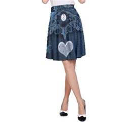 Elegant Heart With Steampunk Elements A-line Skirt by FantasyWorld7