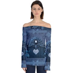 Elegant Heart With Steampunk Elements Off Shoulder Long Sleeve Top