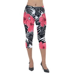 Fancy Tropical Pattern Lightweight Velour Capri Leggings  by tarastyle