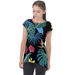 Fancy Tropical Pattern Cap Sleeve High Low Top by tarastyle