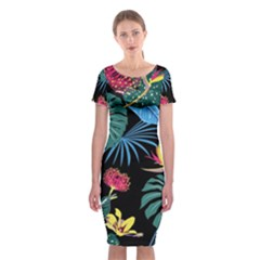 Fancy Tropical Pattern Classic Short Sleeve Midi Dress by tarastyle