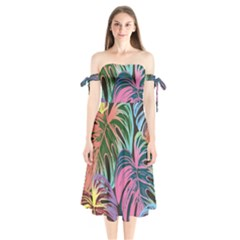 Fancy Tropical Pattern Shoulder Tie Bardot Midi Dress by tarastyle