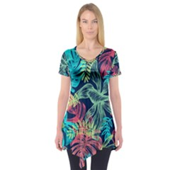 Fancy Tropical Pattern Short Sleeve Tunic