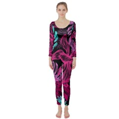 Fancy Tropical Pattern Long Sleeve Catsuit by tarastyle