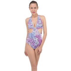 Cute Abstract Pattern  Halter Front Plunge Swimsuit by tarastyle