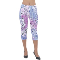 Cute Abstract Pattern  Lightweight Velour Capri Leggings  by tarastyle