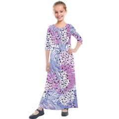 Cute Abstract Pattern  Kids  Quarter Sleeve Maxi Dress by tarastyle