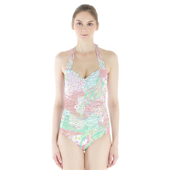Cute Abstract Pattern  Halter Swimsuit