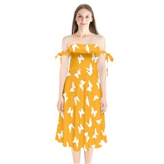 Butterfly Pattern Shoulder Tie Bardot Midi Dress