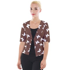 Butterfly Pattern Cropped Button Cardigan