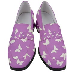 Butterfly Pattern Women s Chunky Heel Loafers by tarastyle