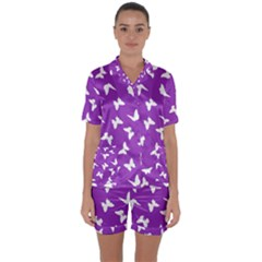 Butterfly Pattern Satin Short Sleeve Pyjamas Set by tarastyle
