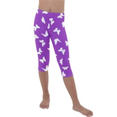 Butterfly Pattern Kids  Lightweight Velour Capri Leggings  by tarastyle
