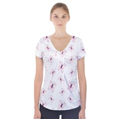 Butterfly Pattern Short Sleeve Front Detail Top