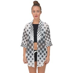 Black And White Pattern Open Front Chiffon Kimono by tarastyle