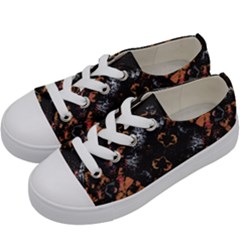 Fractal Vintage Grunge Print Design Kids  Low Top Canvas Sneakers by dflcprintsclothing