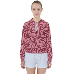Red Floral Pattern Women s Tie Up Sweat