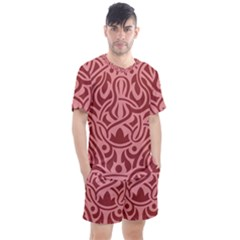 Red Floral Pattern Men s Mesh Tee And Shorts Set by tarastyle