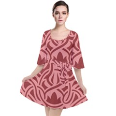 Red Floral Pattern Velour Kimono Dress by tarastyle