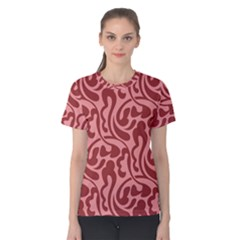 Red Floral Pattern Women s Cotton Tee by tarastyle